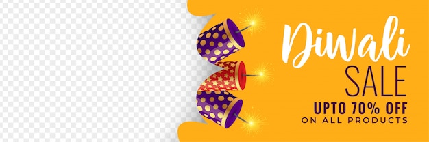 Diwali verkoopbanner met crackers Gratis Vector