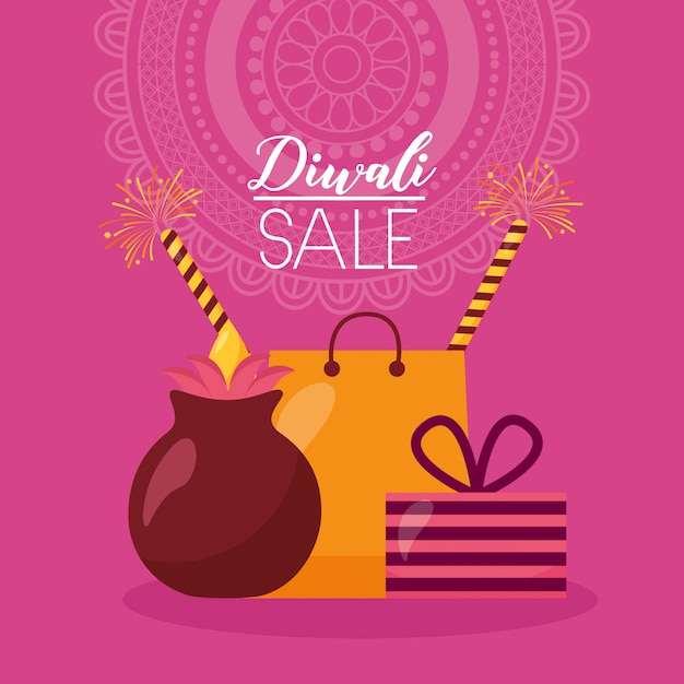 Diwali-verkoopkaart met boodschappentas en kaarsen Gratis Vector