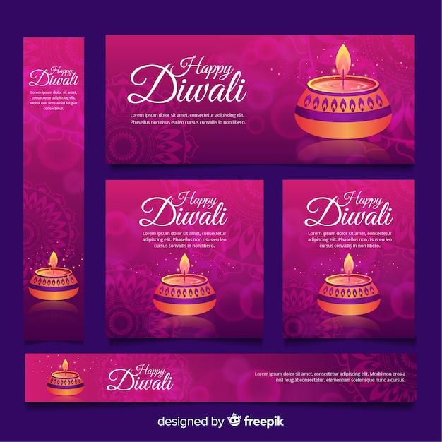 Diwali webbanner collectie met plat ontwerp Gratis Vector