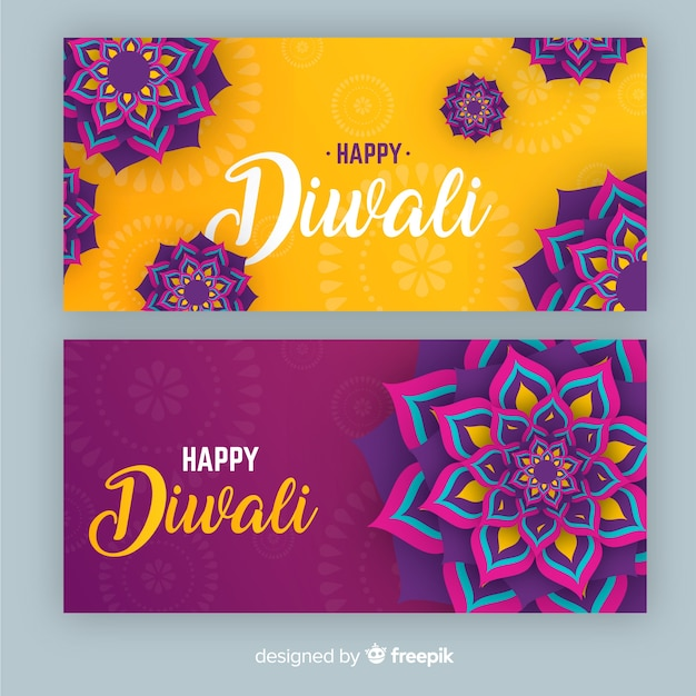 Diwali webbanners in plat ontwerp Gratis Vector