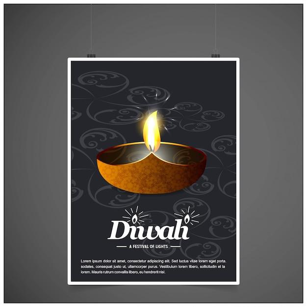 Diwaliontwerp met donkere achtergrond en typografievector Gratis Vector