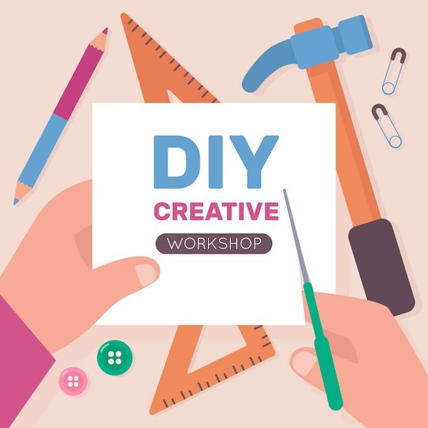 Diy creatief workshopconcept met handen die schaar gebruiken Gratis Vector