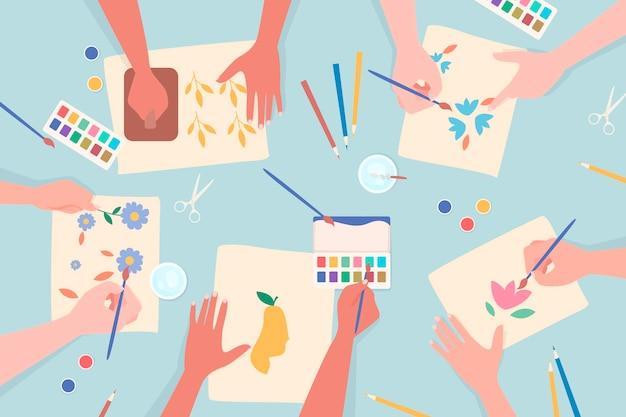 Diy creatief workshopconcept met handen het schilderen Gratis Vector