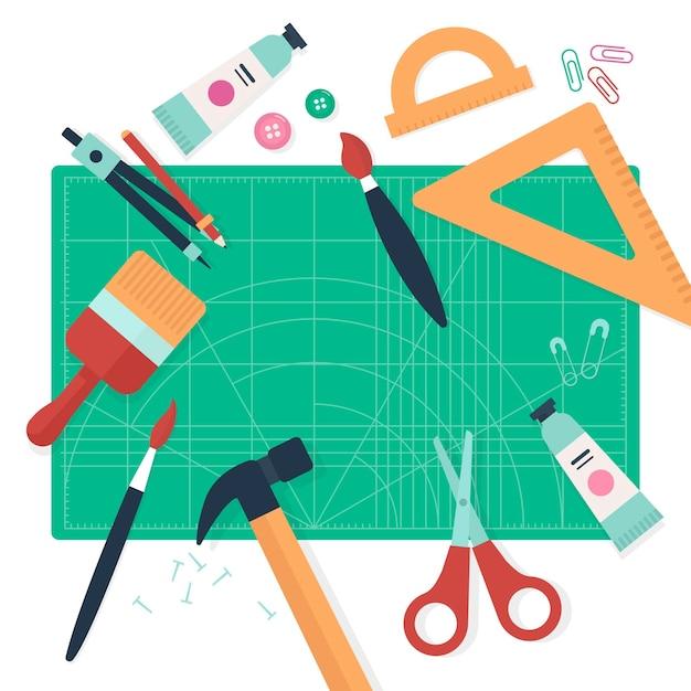 Diy creatief workshopconcept met hulpmiddelen Gratis Vector