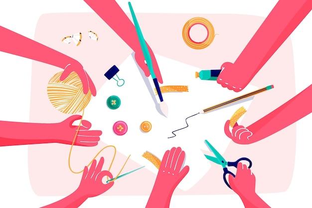 Diy creatieve workshop concept illustratie met handen Gratis Vector