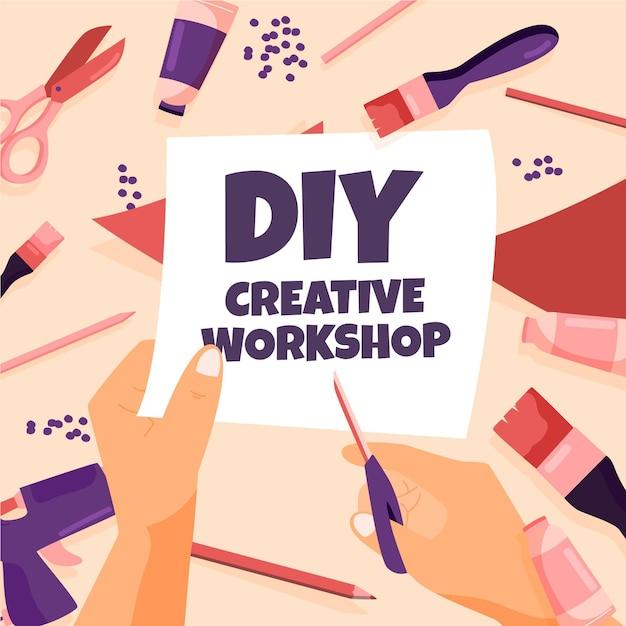 Diy creatieve workshop Gratis Vector