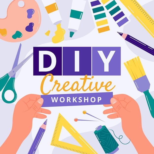 Diy workshopontwerp Gratis Vector
