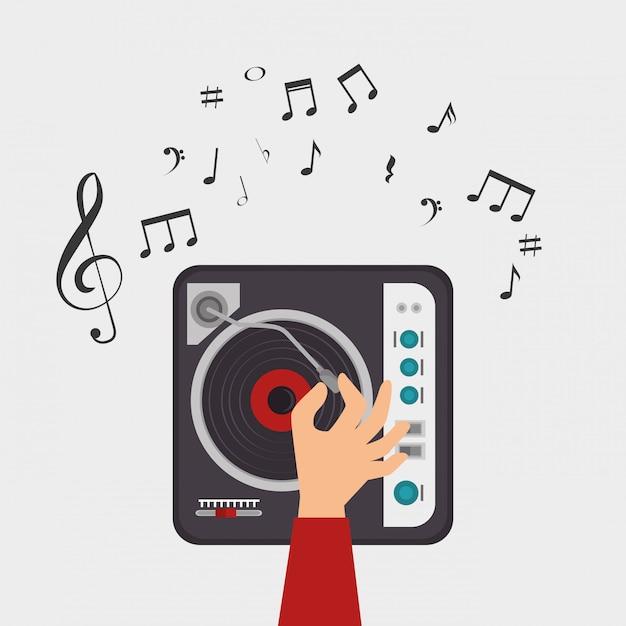 Dj console note clef muziek Gratis Vector