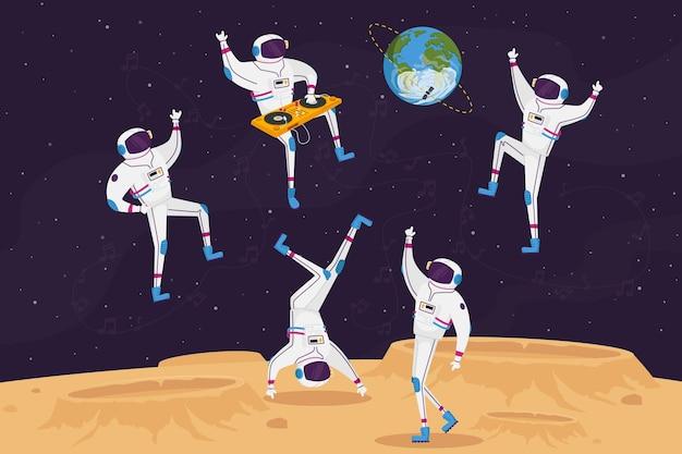Dj- en astronautenpersonages dansen met draaitafel in open ruimte op buitenaardse planeet of maanoppervlak Premium Vector