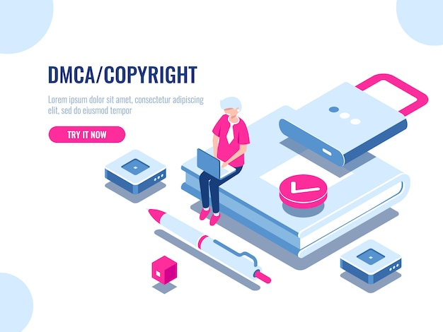 Dmca data copyright isometric icon, content security, boek met slot, elektronisch digitaal contract Gratis Vector