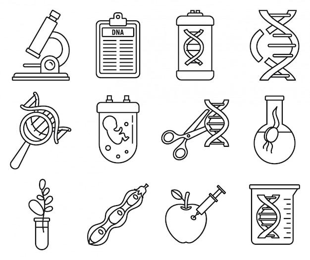 Dna genetische manipulatie pictogrammen instellen, kaderstijl Premium Vector
