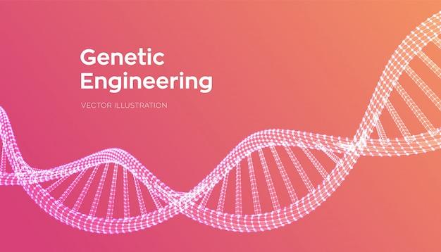 Dna-sequentie. wireframe dna-moleculen structureren gaas. Premium Vector