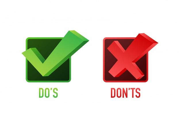 Do's en don'ts zoals duimen omhoog of omlaag. plat eenvoudige duim omhoog symbool minimale ronde logo element set grafisch ontwerp geïsoleerd op wit. stock illustratie. Premium Vector