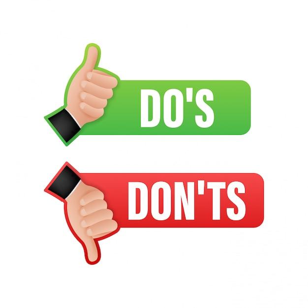 Do's en houdt niet van duimen omhoog of omlaag. plat eenvoudige duim omhoog symbool minimale ronde logo element set grafisch ontwerp geïsoleerd op wit. stock illustratie. Premium Vector