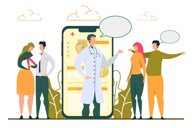 Doctor consulting vruchtbaarheid probleem vrouw online Premium Vector