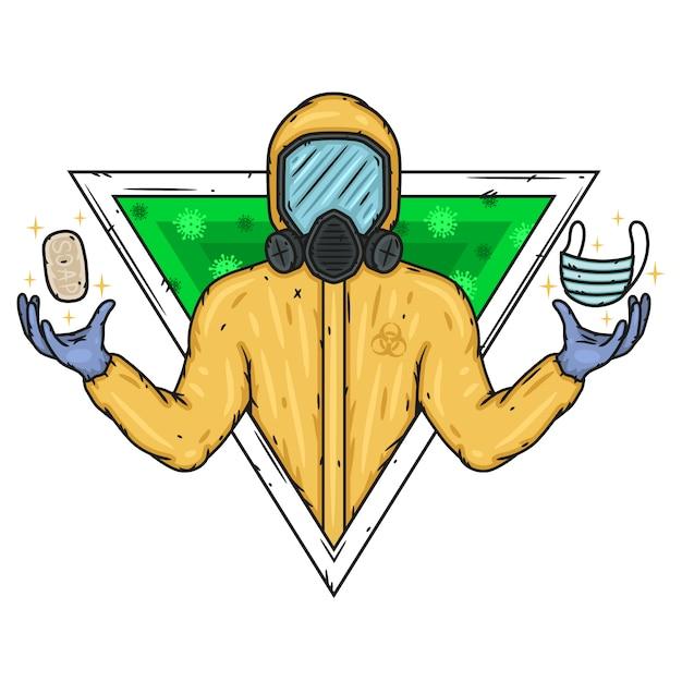 Doctor in de biologische bescherming pak met zeep en medische masker. Premium Vector