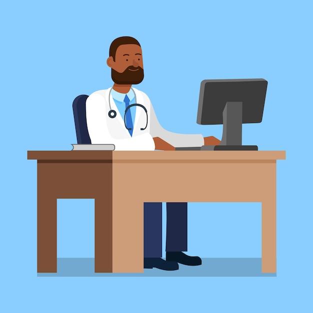 Doctor in de witte jas zitten aan tafel in de buurt van computer. Premium Vector
