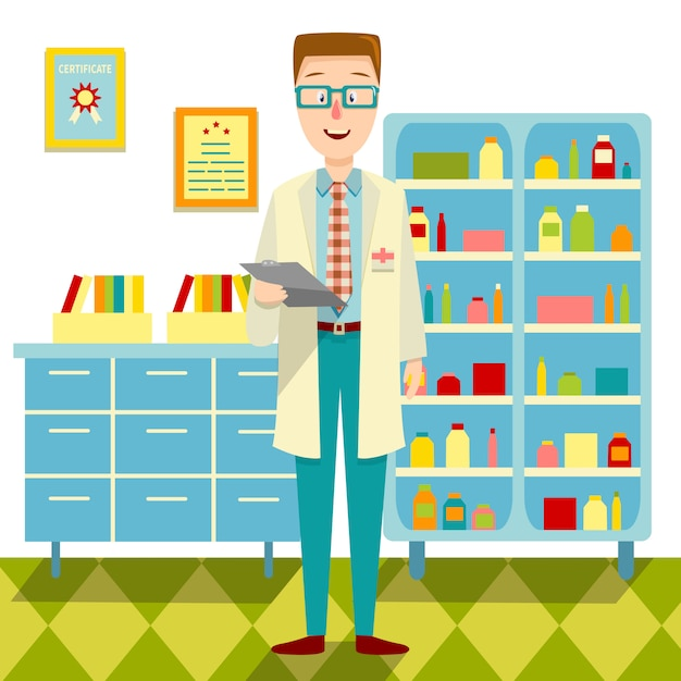 Doctor in zijn office flat design Gratis Vector
