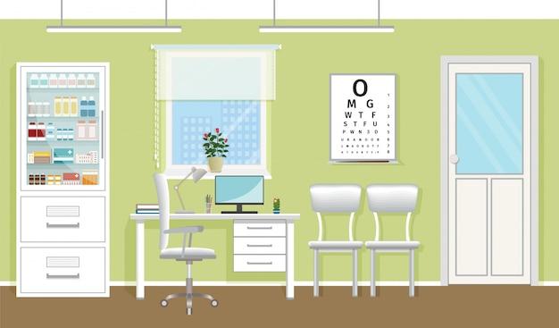 Doctor's spreekkamer interieur in kliniek. leeg medisch kantoorontwerp. ziekenhuis werken in gezondheidszorg concept. vector illustratie Premium Vector