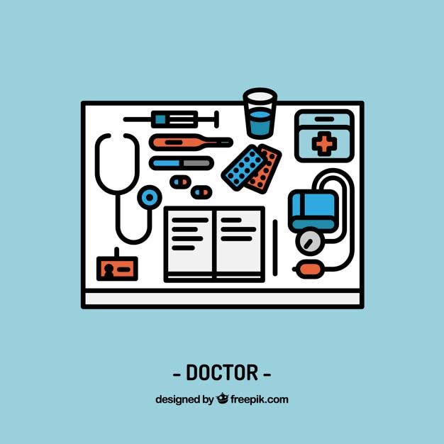 Doctor werkplekinrichting Gratis Vector