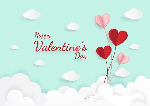 Document kunst van illustratieliefde en valentijnskaartdag Premium Vector