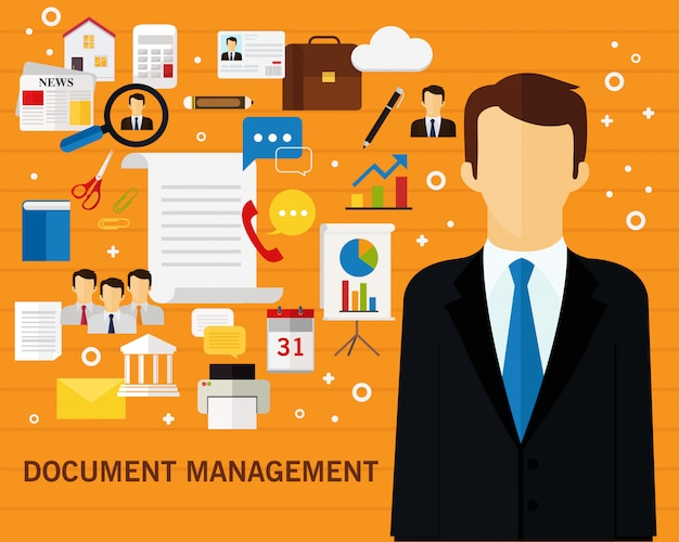 Document management concept achtergrond Premium Vector