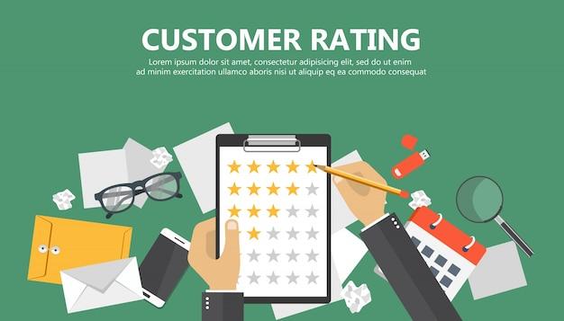 Document met rating sterren Premium Vector