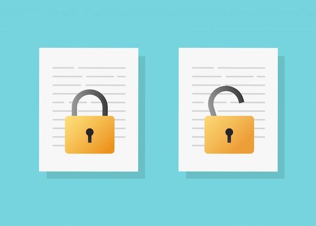 Document veilige vertrouwelijke online toegangsvergrendeling en ontgrendeling of internetprivacybescherming op tekstbestand vector platte cartoon Premium Vector