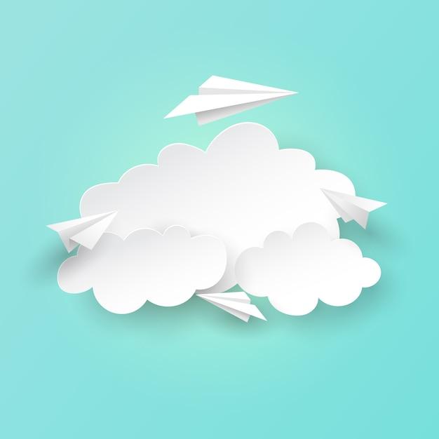 Document vliegtuigen die op wolkenachtergrond vliegen. Premium Vector