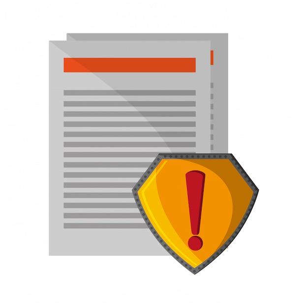 Documenten aandacht badge teken Premium Vector