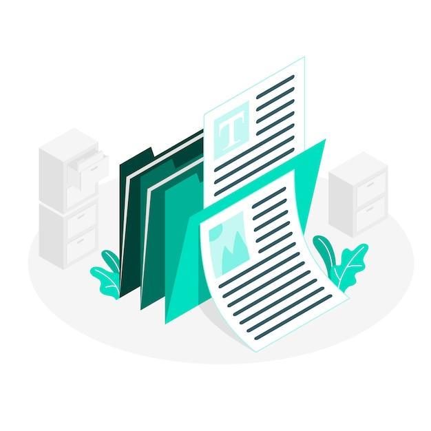 Documenten concept illustratie Gratis Vector