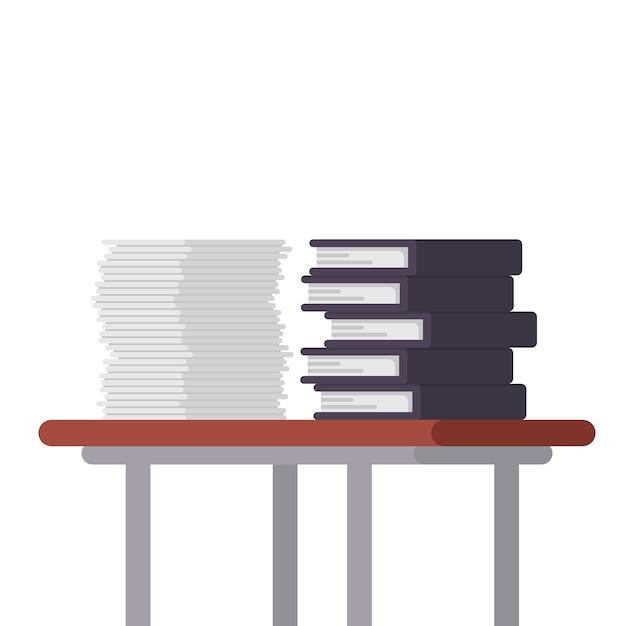 Documenten en bestandsmappen op de tafelillustratie Premium Vector