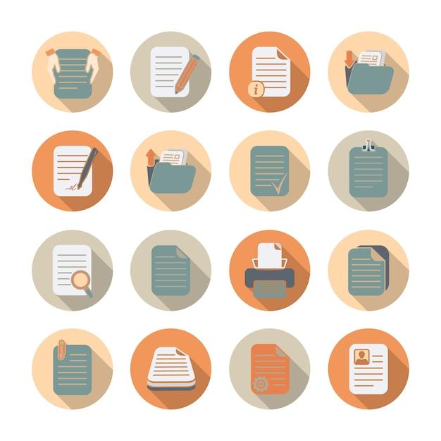 Documentenmappen en dossiers die vlakke pictogrammen met schaduwreeks geïsoleerde vectorillustratie verwerken en opslaan Premium Vector