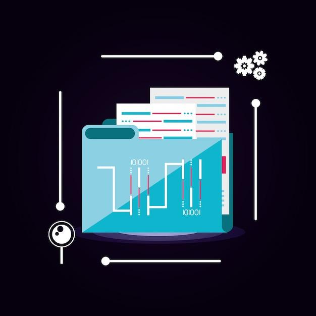 Documentmap met datacenterpictogram Premium Vector