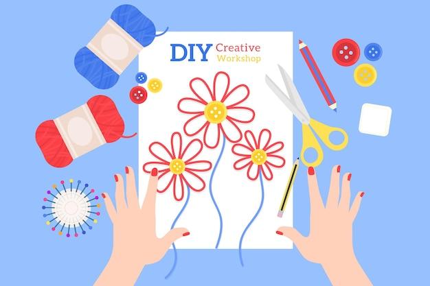 Doe het zelf bloemen naaien Gratis Vector