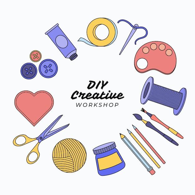 Doe het zelf creatieve workshop en tools Gratis Vector