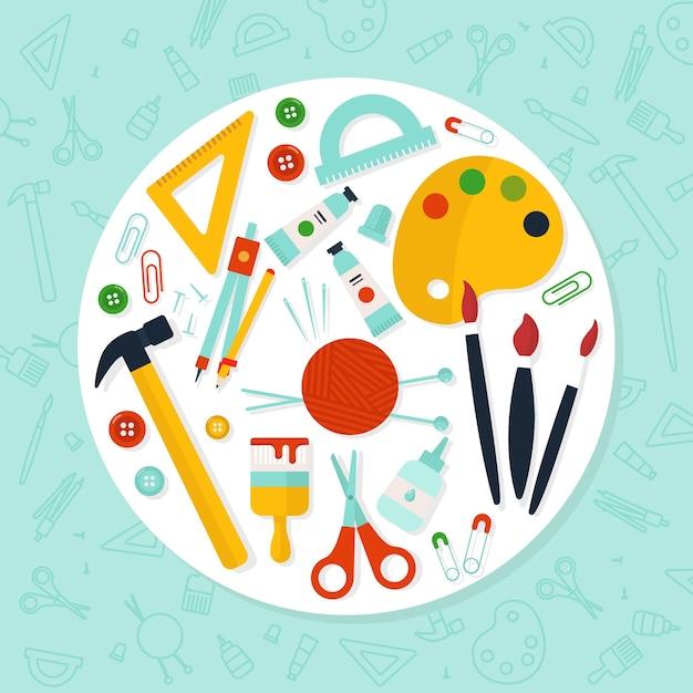 Doe het zelf gele creativiteitstools Gratis Vector