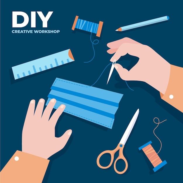 Doe het zelf naaigarnituur Gratis Vector