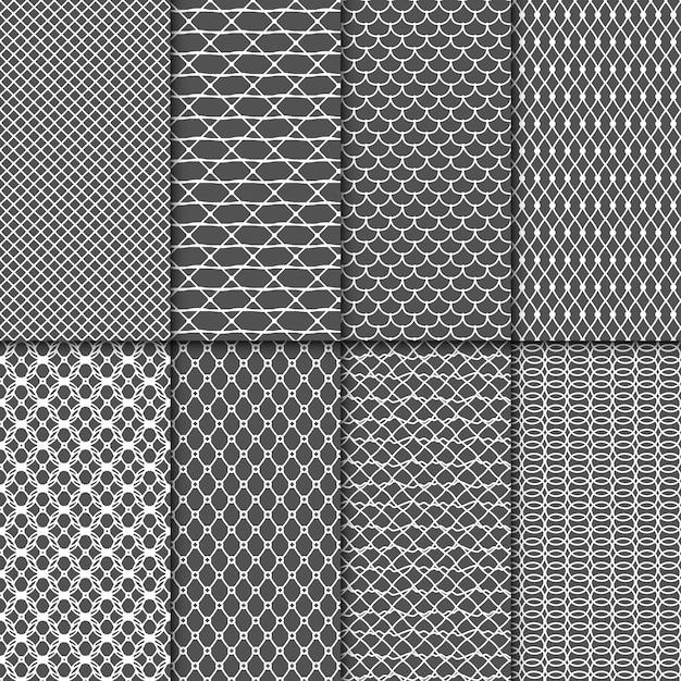 Doek naadloze patronen. fabric net vector texturen. lace meshes-collectie. mesh naadloze achtergrond instellen Premium Vector