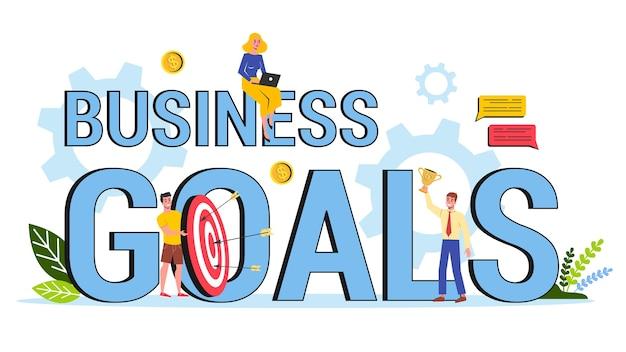 Doel bedrijfsconcept. idee van strategie en op weg naar succes. motivatie en prestatie. illustratie Premium Vector