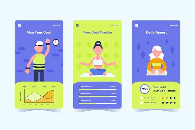Doelen en gewoonten bijhouden van app-verzameling Gratis Vector