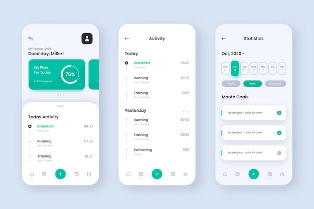 Doelen en gewoonten volgen app-schermen Gratis Vector