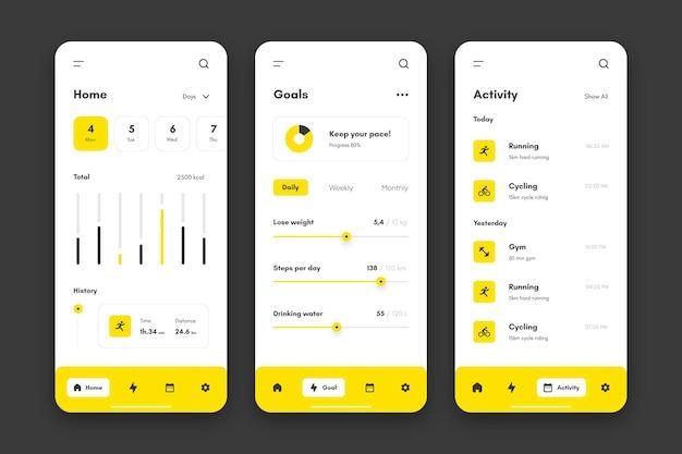 Doelen en gewoonten volgen app-verzameling Premium Vector
