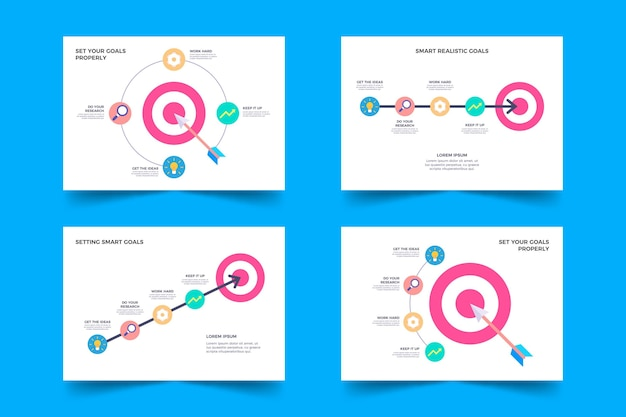 Doelen infographic collectie Gratis Vector