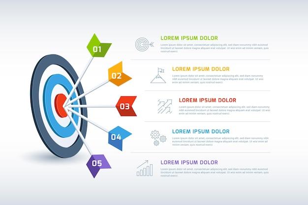 Doelen infographic met verschillende details Gratis Vector