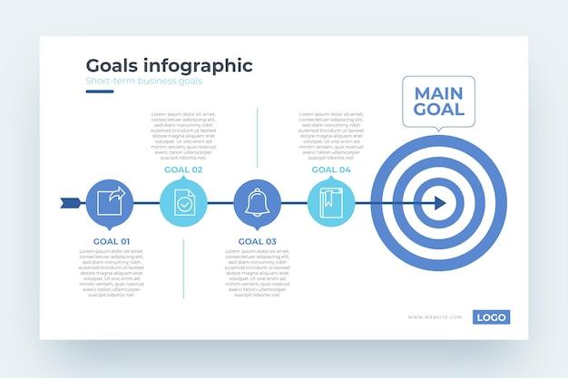 Doelen infographic sjabloon Premium Vector