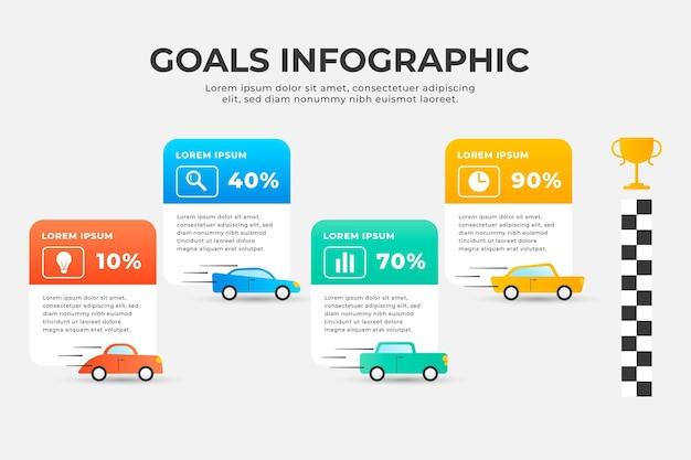 Doelen infographic sjabloon Gratis Vector