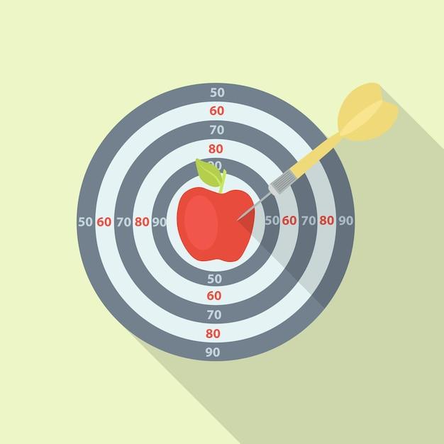 Doelgroep met rode appel die met pijl raakt. doelen, uitdaging Premium Vector