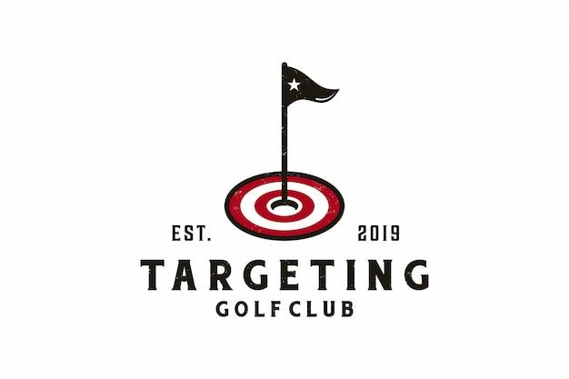 Doelpictogram met golf logo ontwerp Premium Vector