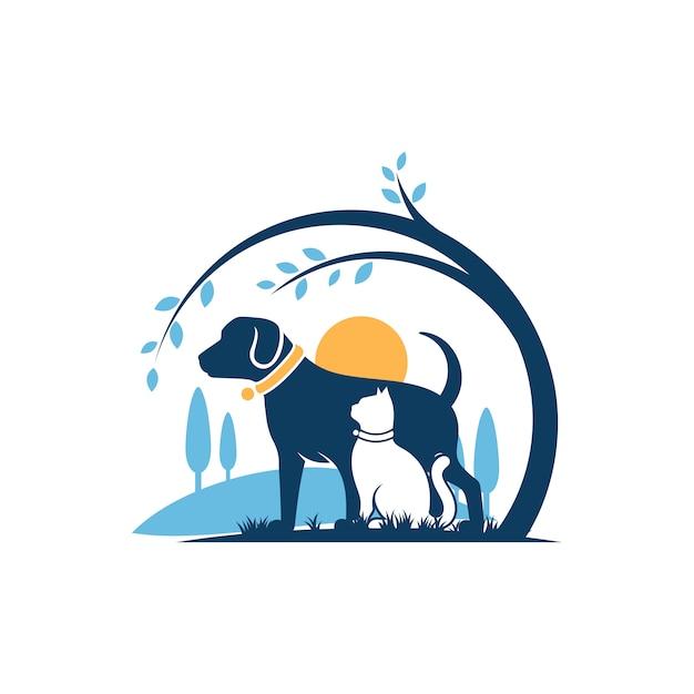 Dog cat logo template veterinair Premium Vector